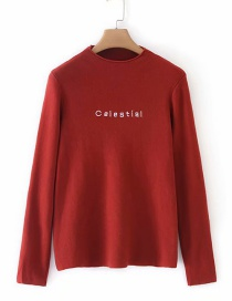 Fashion Red Letter Embroidery Long Sleeve Sweater