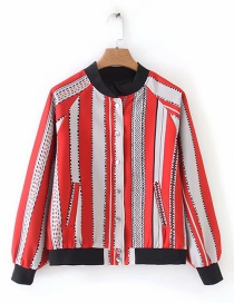 Fashion Red And White Vertical Color Matching Jacket
