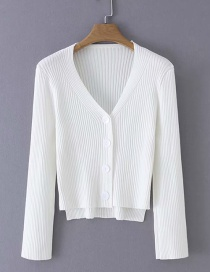 Fashion White V-neck Cardigan