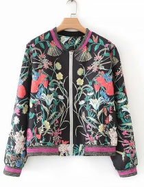 Fashion Black Printed Zipper Jacket