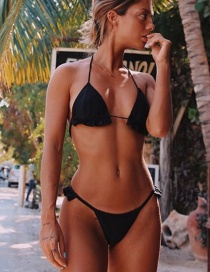 Fashion Black Lace-up Lace-up Split Swimsuit With Chest Pad