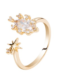 Fashion Gold Plated Gold-plated Starburst Zircon Ring