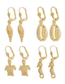 Fashion Gold Alloy Shell Conch Sea Turtle Hippocampus