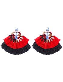Fashion Red Black Alloy Studded Contrast Double Tassel Earrings