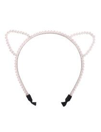 Fashion White Alloy Hollow Cat Ears Pearl Headband