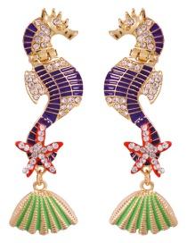 Fashion Purple Alloy-studded Seahorse Drip Oil Earrings