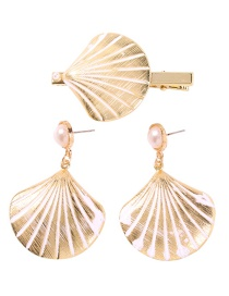 Fashion Shell Set Alloy Spray Painted Starfish Pearl Hairpin Earrings Set