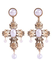 Fashion Gold Alloy Openwork Carved Pearl Stud Earrings