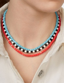 Fashion Color Beaded Multilayer Necklace