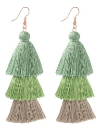 Fashion Green Fringed Color Earrings