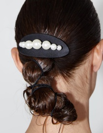 Fashion Black Elliptical Resin With Pearl Alloy Hairpin