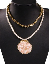 Fashion Gold Beaded Shell Double Necklace
