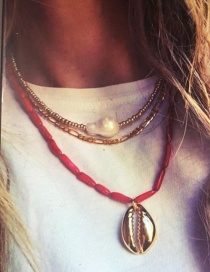 Fashion Red Alloy Shell Beaded Multi-layer Necklace