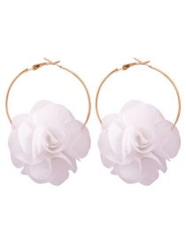 Fashion White Alloy Fabric Flower Earrings