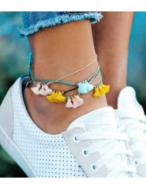 Fashion Color Braided Color Cord Tassel Multi-layered Anklet