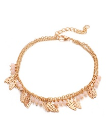 Fashion Gold Rice Beads Hollowed Out Leaf Alloy 2 Layer Anklet
