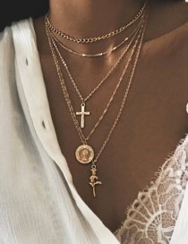Fashion Gold Cross Rose 5 Layer Necklace
