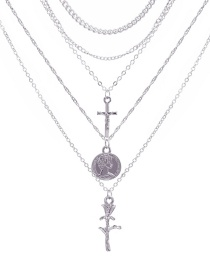 Fashion Silver Cross Rose 5 Layer Necklace