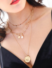 Fashion Gold Natural Shell Multi-layer Freshwater Pearl Necklace
