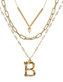 Fashion B Gold Letter Natural Pearl Multi-layer Necklace