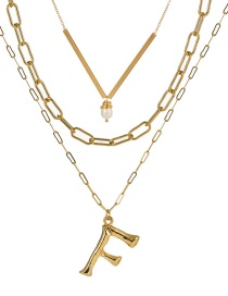 Fashion F Gold Letter Natural Pearl Multi-layer Necklace