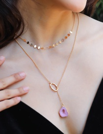 Fashion Gold Agate Moon Pentagram Natural Stone Head Multilayer Necklace