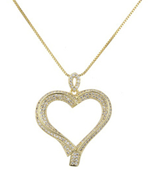 Fashion Gold Heart-shaped Zircon Copper-plated Hollow Love Necklace