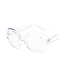 Fashion Transparent Frame Transparent Film Oval Particle Lens Sunglasses