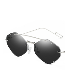 Fashion Black Frameless Polygon Sunglasses