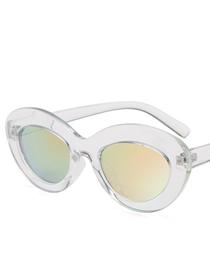 Fashion Transparent Box Cherry Powder Oval Ocean Sunglasses