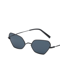 Fashion Black Ash Small Box Polygon Sunglasses
