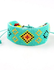 Fashion Green Woven Rice Beads Drawstring Bracelet