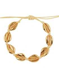 Fashion Small Khaki Line + Gold Alloy Shell Weave Bracelet