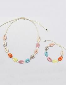 Fashion Color Alloy Shell Necklace Bracelet Set