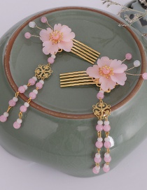 Fashion Pink Crystal Flower Tassel Hair Comb