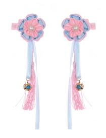 Fashion Blue Flower Tassel Hair Clip