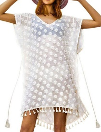 Fashion White Dot V-neck Chiffon Tassel Strap Blouse