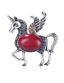 Fashion Color Cartoon Animal Flying Horse With Diamond Drop Brooch