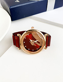 Fashion Red Wine Alloy Ladies Watch
