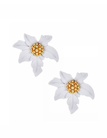 Fashion White Alloy Small Flower Earrings