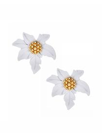 Fashion White Alloy Small Flower Earrings