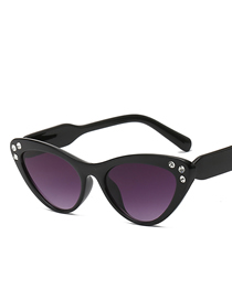 Fashion Black Frame Gradient Gray Cat Eye Gradient Diamond Sunglasses