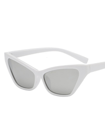 Fashion White Frame Mercury Film Cat Eye Sunglasses