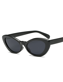 Fashion Bright Black Frame Black Gray Piece Elliptical Line Grinding Sunglasses