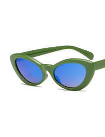 Fashion Green Frame Ice Blue Elliptical Line Grinding Sunglasses