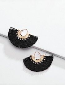 Fashion Black Alloy Cotton Thread Fringed Fan-shaped Earrings