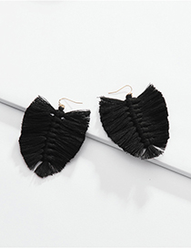 Fashion Black Cotton Thread Fringed Leaves Braided Earrings
