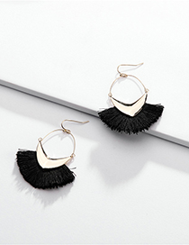 Fashion Black Alloy Geometric Arrow Line Ear Tassel Earrings