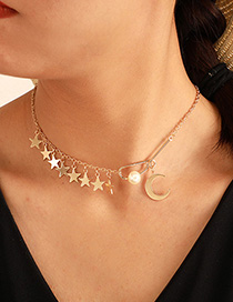 Fashion Gold Alloy Pearl Moon Star Necklace