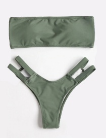 Fashion Green Pure Color Tube Top Hollow Split Swimsuit